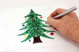 drawing a christmas tree markers on paper stock photo picture and