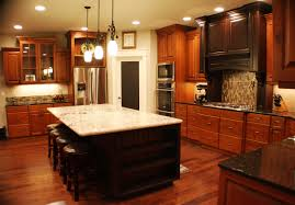 Laminate Flooring Dark Wood Large Brown Wooden Cherry Kitchen Cabinet With Black Countertop