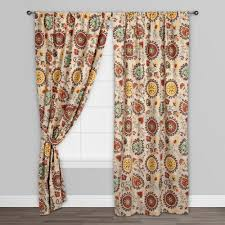 gold and red suzani cotton curtains set of 2 world market