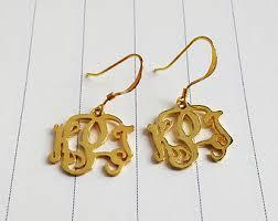 Gold Monogram Earrings Gold Name Earring Etsy