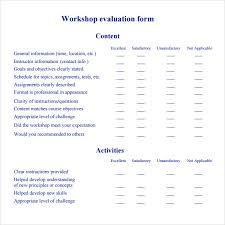 workshop evaluation forms sample pro sample training evaluation