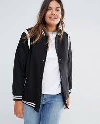 new look plus women varsity bomber