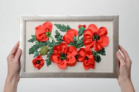 Poppy Home Decor by Madeheart U003e Handmade Wall Picture With Ribbon Embroidery In The