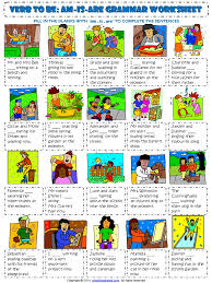 verb to be am is are with present continuous tense esl grammar