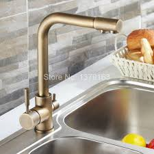 Retro Kitchen Faucet Luxury Vintage Retro Antique Brass Two Levers 3 Way Water Filter