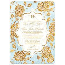 Monogram Wedding Invitations Wedding Invitation Vintage Floral Blue Ivory Gold Leaf Faux
