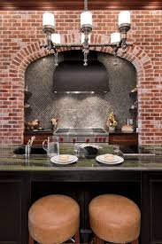Classic Kitchen Backsplash Black Island With Marble Countertop Vent Hood Brown Bar Stools