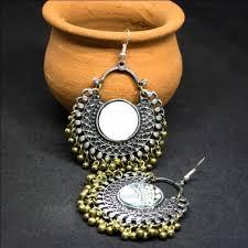 gujarati earrings gujarati chandbali mirror earring beadsobling