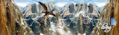 Mountain Mural Wall Art Wallpaper 3d Mountain Dragons Blue Sky Ceiling Entire Room Bedroom Wallpaper