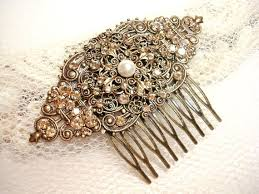 vintage hair combs vintage bridal hair comb wedding headpiece antique gold hair