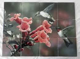 hummingbirds and trumpet wv tile mural 12 tile mural on 4 25