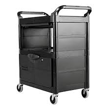rubbermaid service cart with cabinet rubbermaid commercial plastic service and utility cart with cabinet