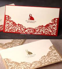 Blank Invitation Cards And Envelopes Design Laser Cut Floral Red Gold Wedding Invitations Cards Paper