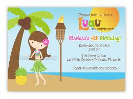 custom sweet luau hula birthday invitation you print