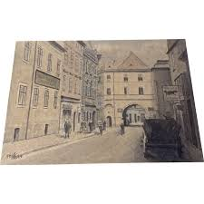 1964 kk architectural watercolor painting drawing of a street