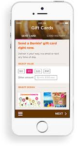 send gift cards mobile app dunkin donuts