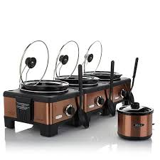 bella set of 3 linkable 2 5 quart slow cookers kitchen must