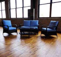 Home Decor Outlet Stores Spanish Wells Sofa Set Black Wicker Sky Blue Fabric Loversiq