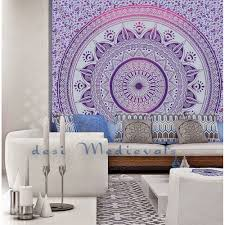 mandala purple indian hippy wall hanging tapestry