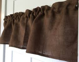 Chocolate Brown Valances For Windows Burlap Valance Etsy
