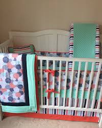 Coral Nursery Bedding Sets by Coral Mint Navy And Gray Baby Curl Crib Bedding With Floral And