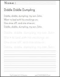 diddle diddle dumpling handwriting worksheet student handouts