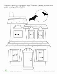printable spooky house halloween haunted house worksheet education com