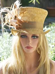 gold bronze straw mad hatter kentucky derby hat top hat one of