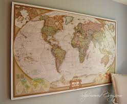 Map Of The World Art by World Map Wall Art Slipcovered Grey