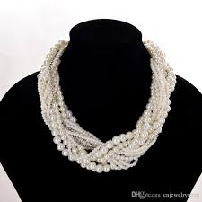 multi layered black necklace images Elegant high quality multi layer pearl choker necklaces chunky jpg