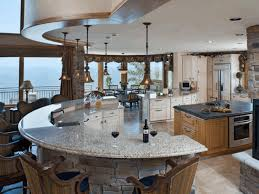 semi circular kitchen island counter fancy conical ceiling lamp