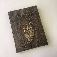 gold owl vintage notebook handmade exclusive notepad write journal