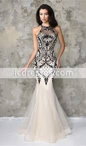 champagne jewel neckline formal dresses black lace mermaid prom