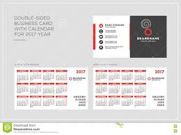 Biz Card Template Double Sided Business Card Template With Calendar For 2017 Year
