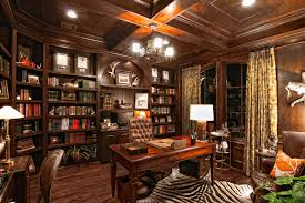 cool leather seating and wooden desk under chandelier near well