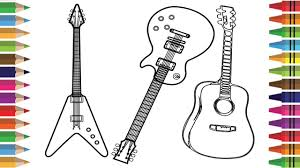 how to draw guitar for kids drawing musical instruments coloring