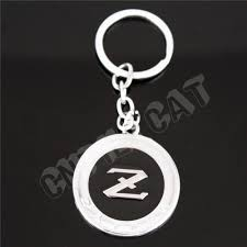 fairlady z white 3d silver u0026black datsun z logo car key chain key ring keychain for