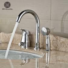 chrome finish brass bathtub sink faucet deck mount bath shower