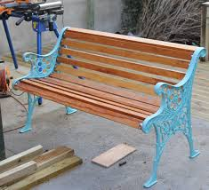 how to restore a cast iron bench by new wood and painting