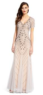 papell dresses sleeve v neck beaded gown papell