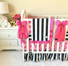 Girls Crib Bedding Black And White Stripe With Gold Crib Sets For Girls Fancy