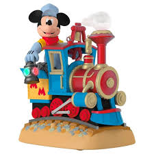 disney mickey s magical railroad sound ornament with light and