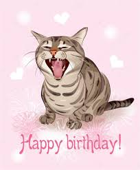 happy birthday card funny cat sings greeting song pink backg