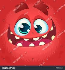 Monster Faces For Halloween Cartoon Monster Face Vector Halloween Red Stock Vector 497881786