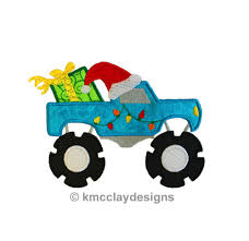 monster trucks clipart christmas monster truck applique with santa hat and present