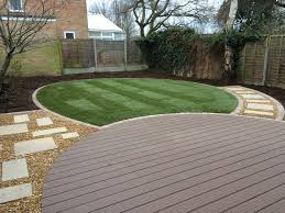 low maintenance garden achieved using composite decking lawn and