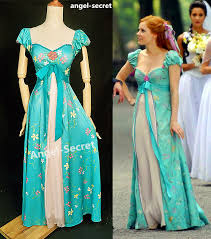 j230 women curtain dress giselle cosplay enchanted teal disney