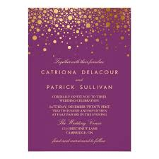 purple and gold wedding invitations faux gold foil confetti purple wedding invitation zazzle