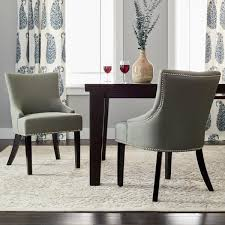 Safavieh Dining Room Chairs by Safavieh En Vogue Dining Loire Grey Linen Nailhead Dining Chairs