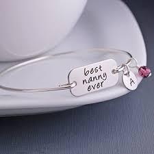 Personalized Bangle Bracelets Amazon Com Silver Best Nanny Ever Personalized Bangle Bracelet